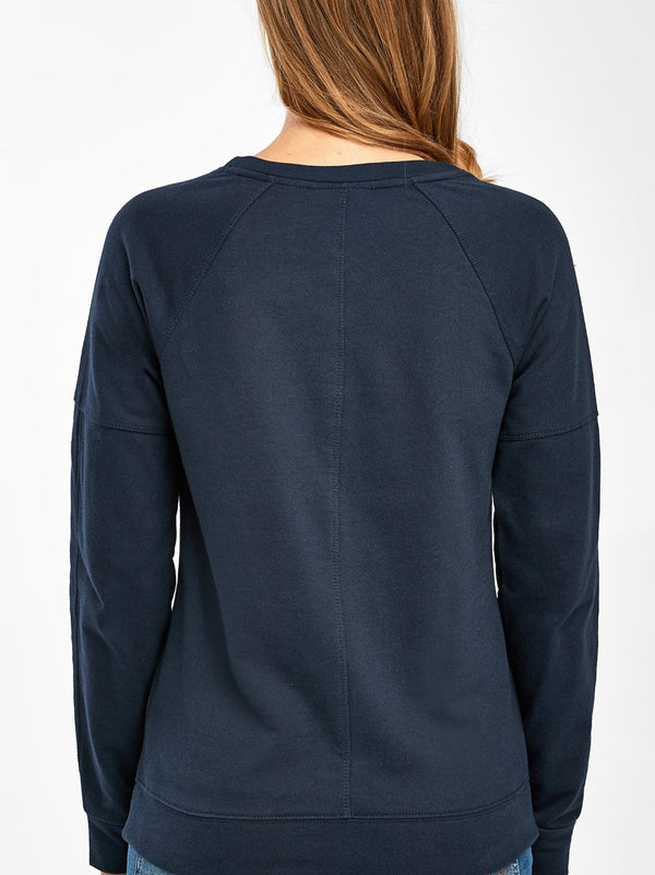 Navy Long Sleeve Casual Round Neck Shirts & Tops