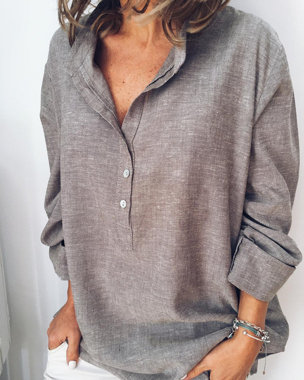 Solid Shirt Collar Casual Long Sleeve Shirts & Tops