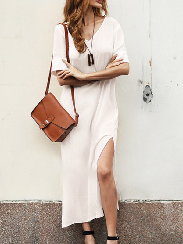 White Cotton-Blend Maxi Dresses