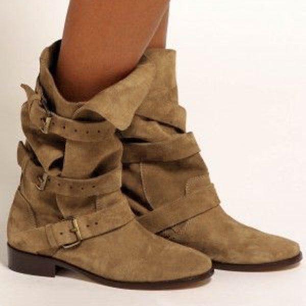 Low Heel Suede Fall Boots
