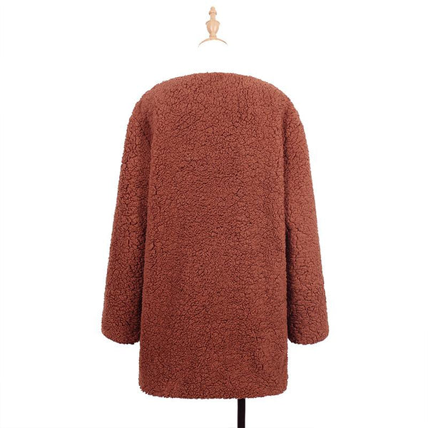 Plus Size Faux Fur Elegant Long Sleeve Pockets Coat