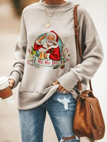 Christmas Gray Casual Cotton-Blend Shirts & Tops