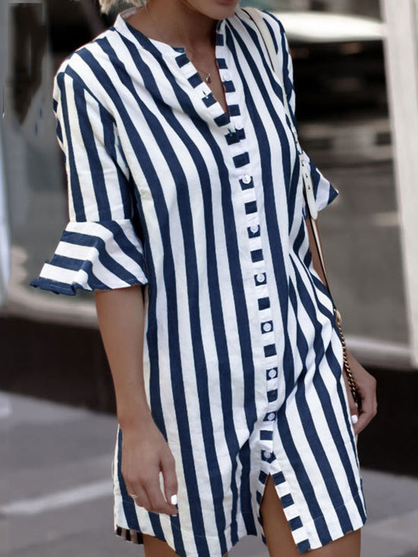 Plus Size Crew Neck Women  Cotton Casual  Striped Summer Dress