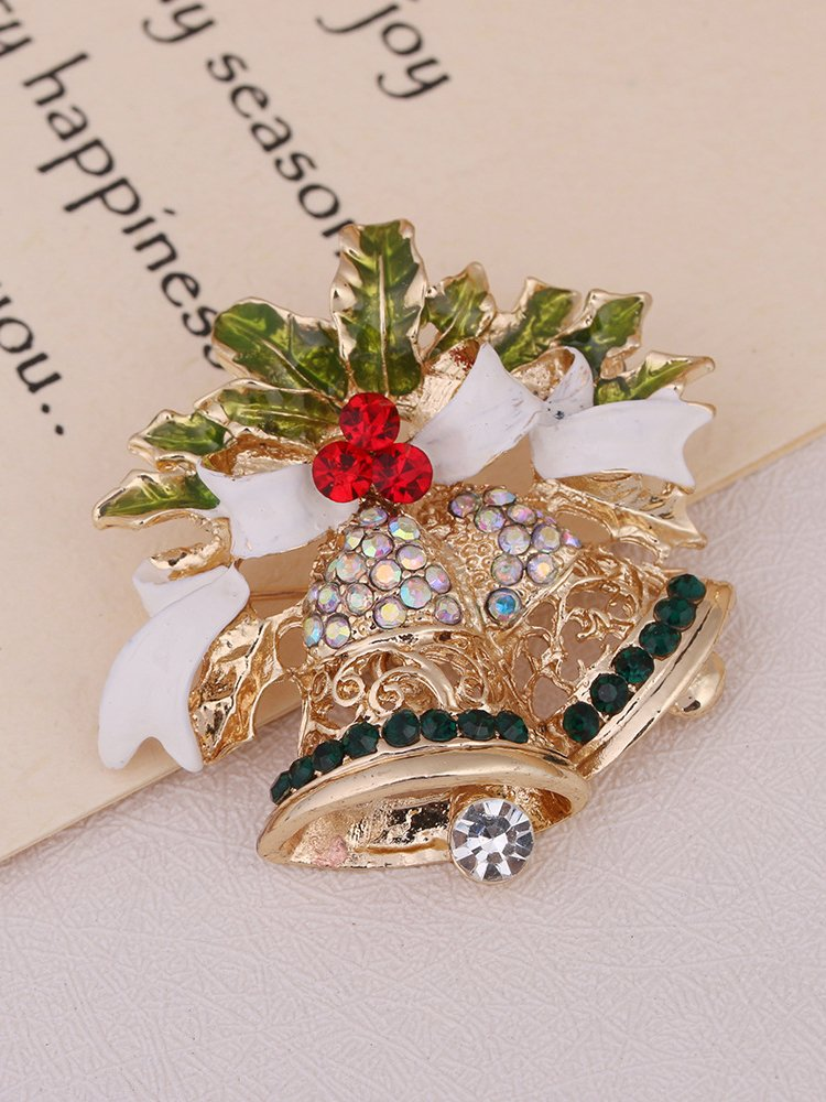 Christmas White Alloy Casual Brooches & Lapel Pins