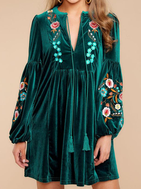 Women Green Boho Velvet Long Sleeve V Neck Dresses