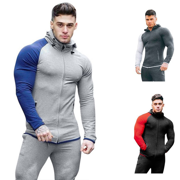 Men's Casual Paneled Zipper Design Long Sleeve Sweatshirt
