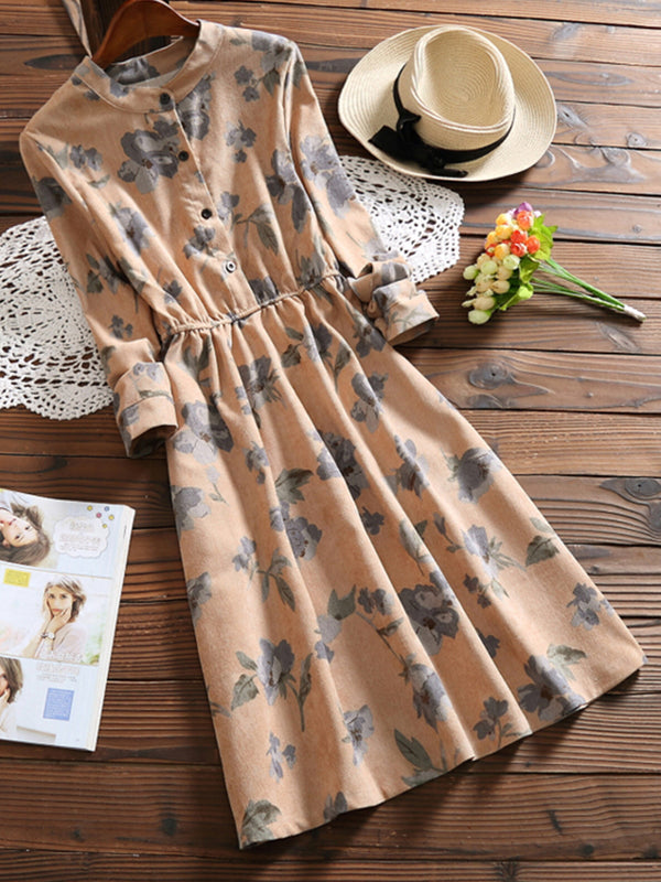 Sweet Floral-Print Long Sleeve A-Line Dress