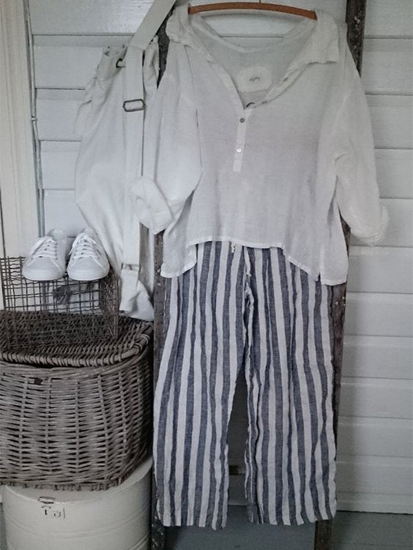 Linen Plus Size Casual Striped Pants