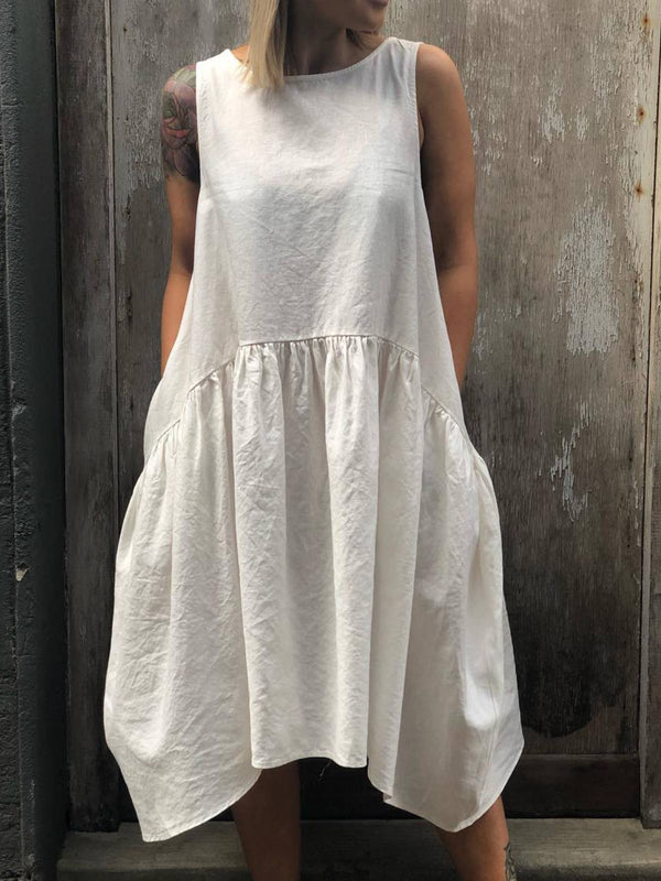 White Casual Plain Crew Neck Half Sleeve Dresses