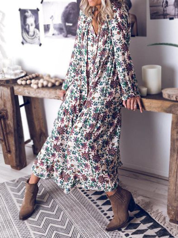 As Picture Cotton V Neck Long Sleeve Dresses