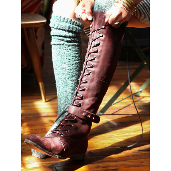 Lace-Up Flat Heel Winter Leather Boots