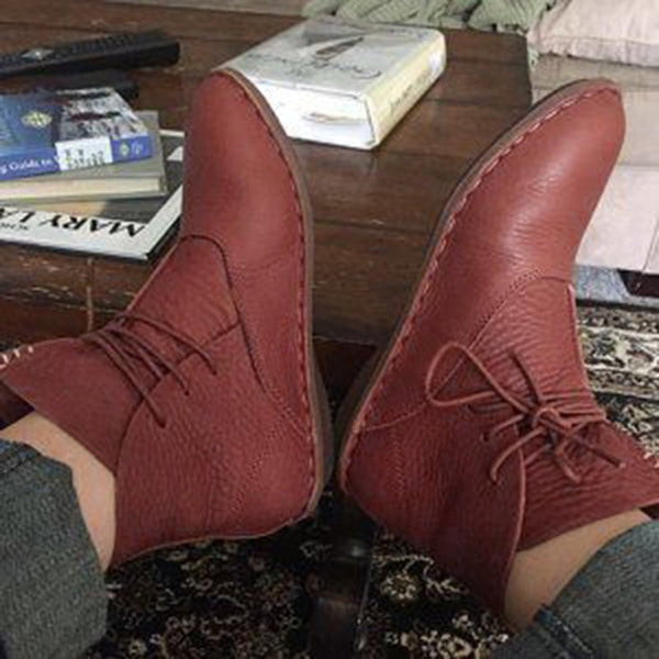 Coffee Lace-Up Fall Leather Boots