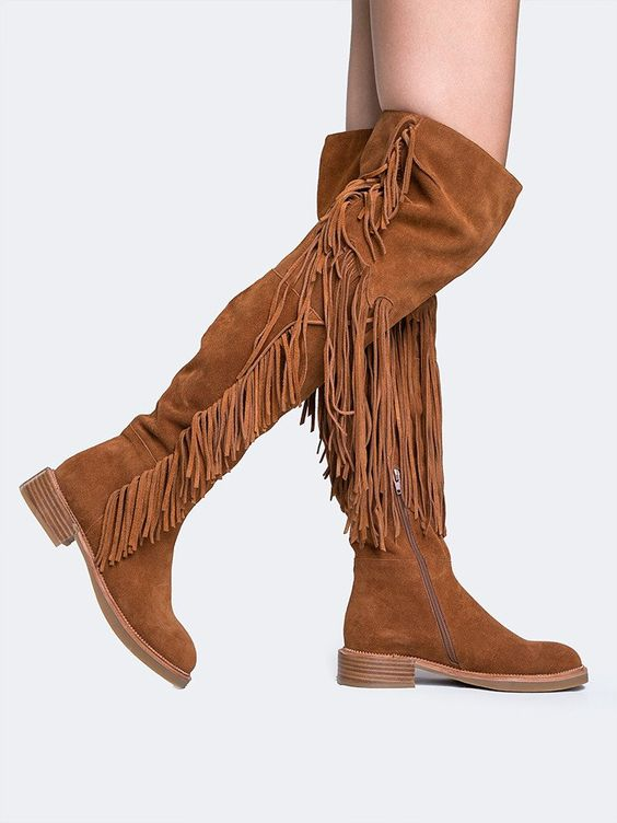 Brown Daily Tassel Suede Flat Heel Fall Boots