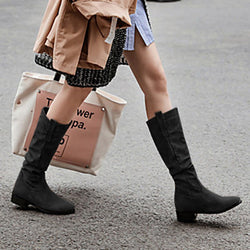 Lace-Up Low Heel Boots
