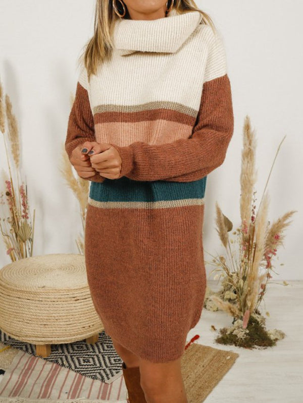 Khaki Striped Casual Knitted Sweater
