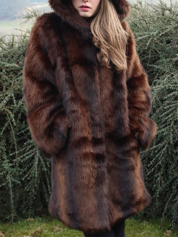 Plus size thick lamb coat Casual Faux Fur Outerwear