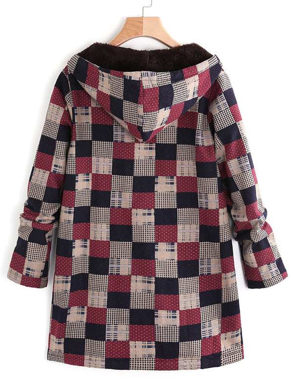 Women Plaid Fleece Hooded Zipper Autumn Winter Coats