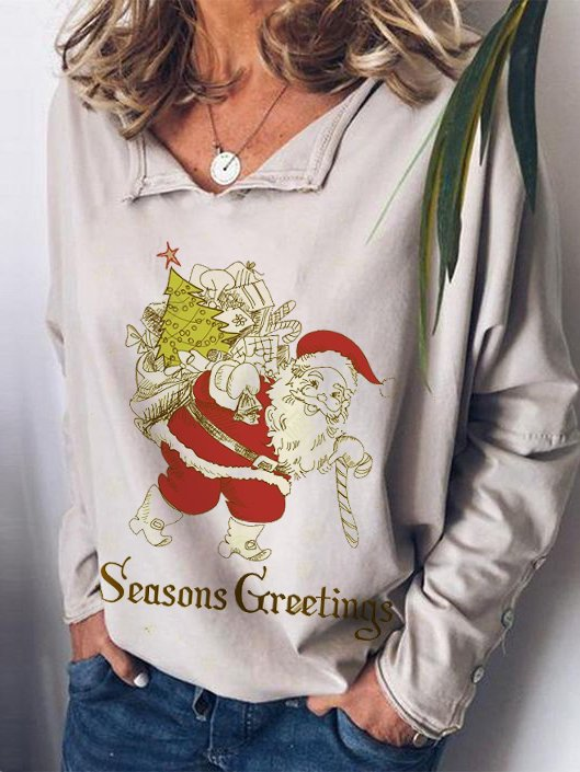 Christmas White Cotton-Blend Holiday Shirts & Tops