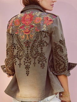 Gray Floral Turn-Down Collar Long Sleeve Cotton-Blend Outerwear