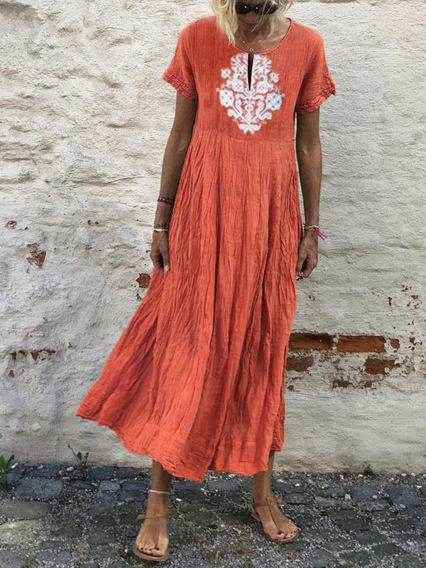 Summer Tribal Dress V-Neck Short Sleeve Maxi Dresses
