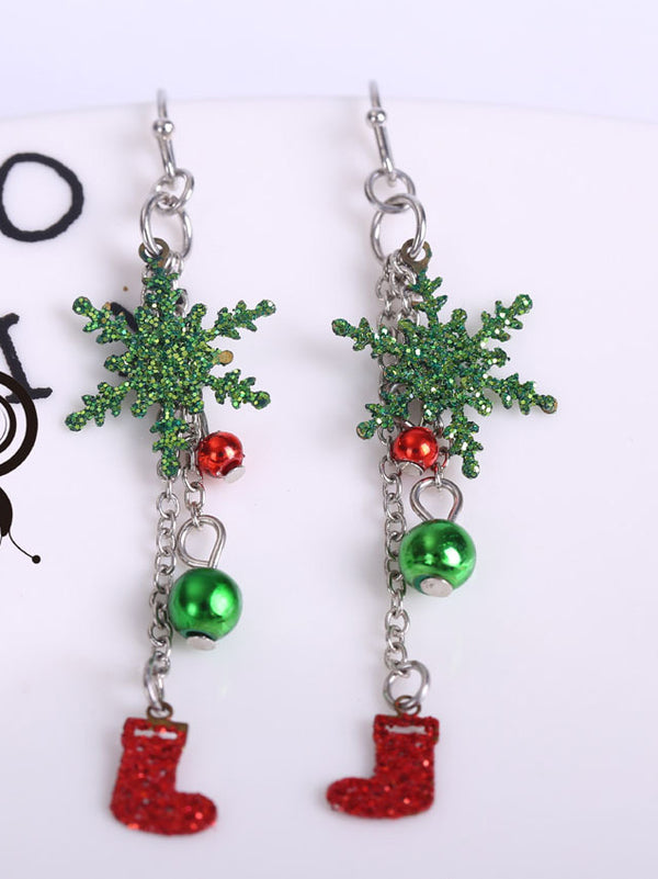 Green Alloy Sweet Christmas Earrings