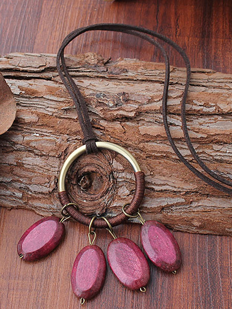 Red Vintage Alloy Necklaces Women Accessories