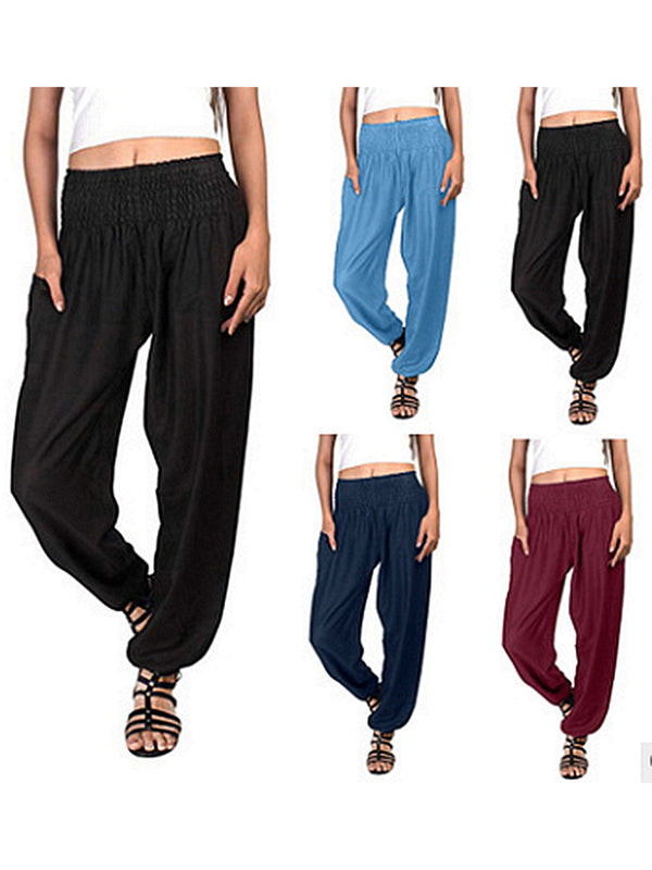 Women Pants Pockets Elastic Waist Solid Casual Pants