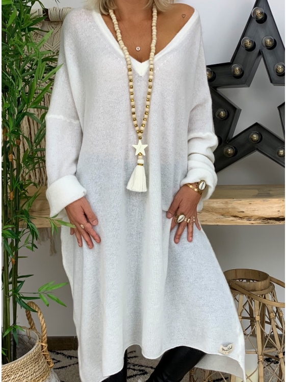 White Cotton-Blend V Neck Long Sleeve Dresses