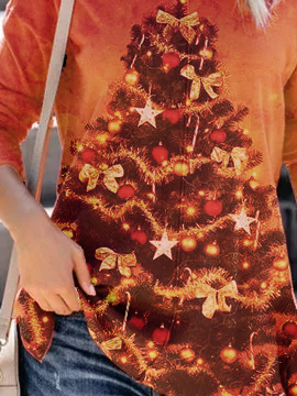 Orange Holiday Cotton-Blend Christmas Shirts & Tops