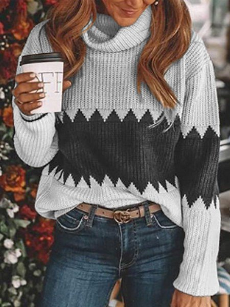 Plus Size Geometric Long Sleeve Casual Sweater