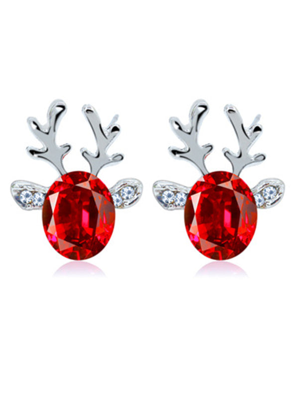 Women Crystal Gem Antler Earrings Fashion Christmas Gift Elk Earrings