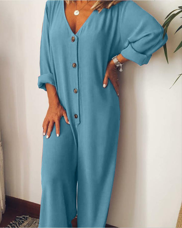 Plus Size Casual Comfy V Neck Long Sleeve Solid Jumpsuits