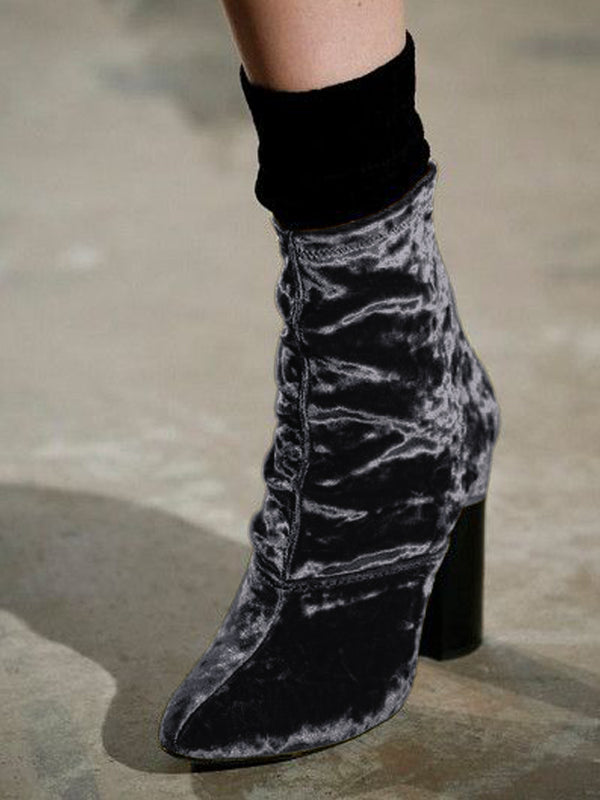 All Season Block Heel Velvet Boots