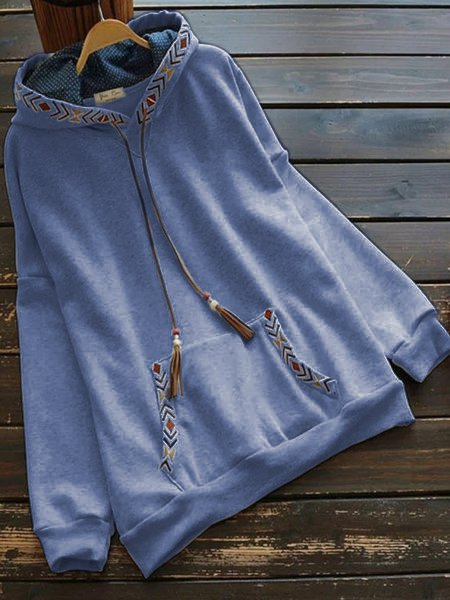 Plus Size Long Sleeve Casual Hoodie Tops