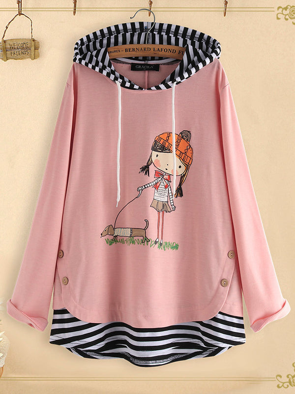 Long Sleeve Cotton-Blend Hoodie Shirts Blouses