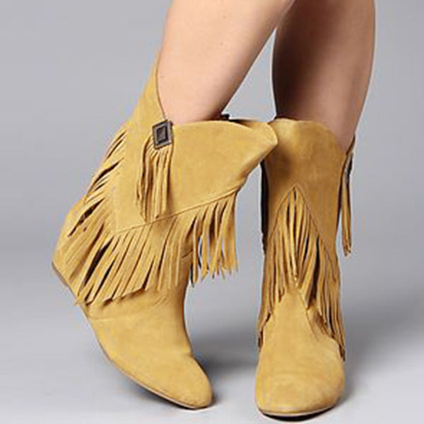 Tassel Flat Heel Daily Suede Boots