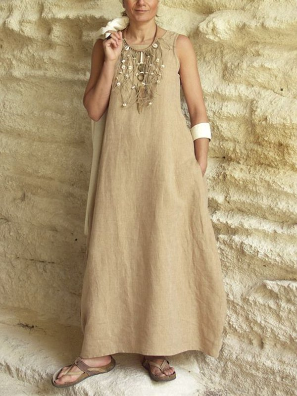 Casual Sleeveless Round Neck Solid Maxi Dress With Pockets