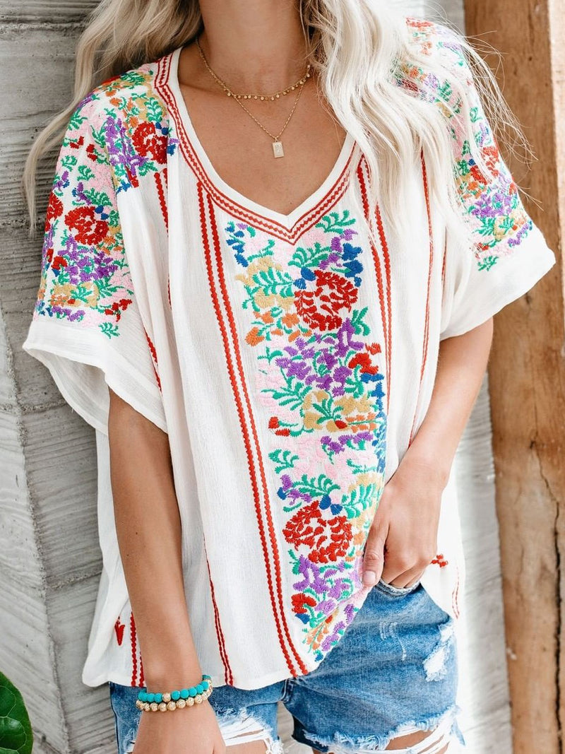 White Short Sleeve Casual V Neck Shirts & Tops
