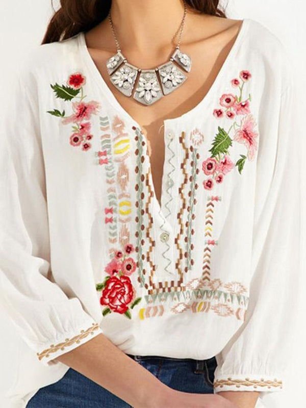 Floral Casual V Neck Shirts & Tops
