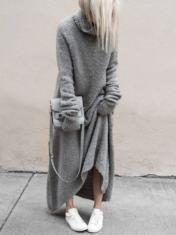 Casual Turtleneck Long Sleeve Maxi Dresses