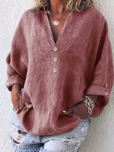 Buttoned V Neck Cotton-Blend Top