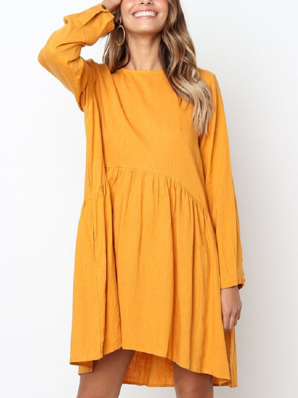 Round Neck Long Sleeve Pleated Dress