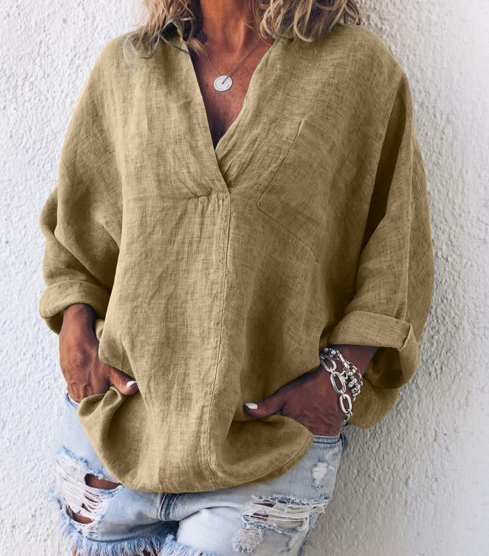 Plus Size Casual V Neck Long Sleeve Tops