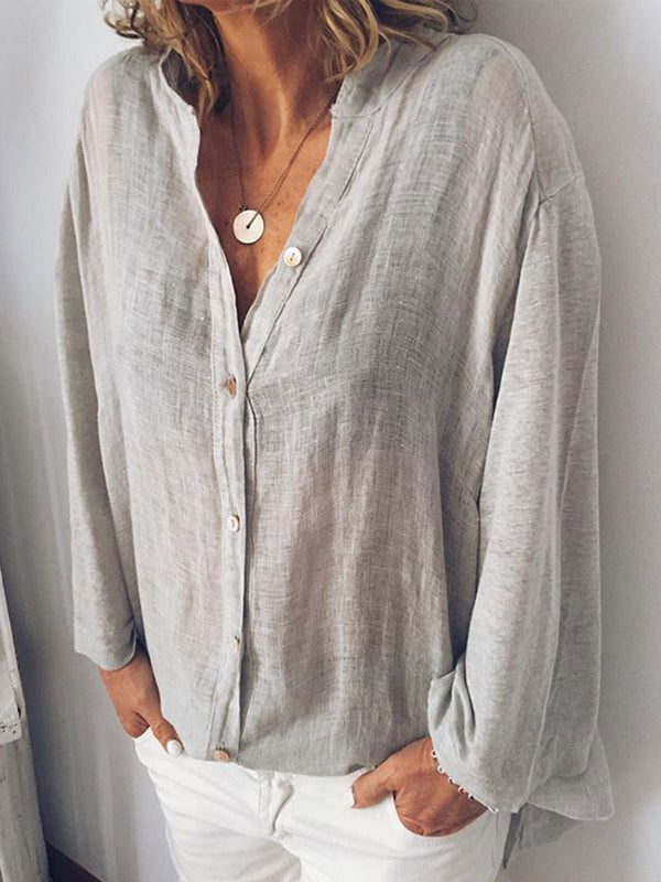 Plus Size Women Loose Casual Linen Blouse Shirts