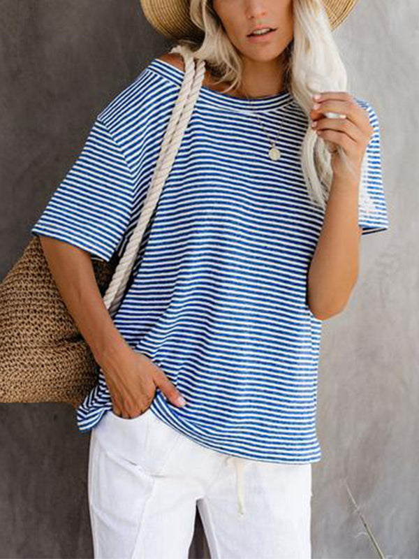 Striped Casual Cotton Shirts & Tops