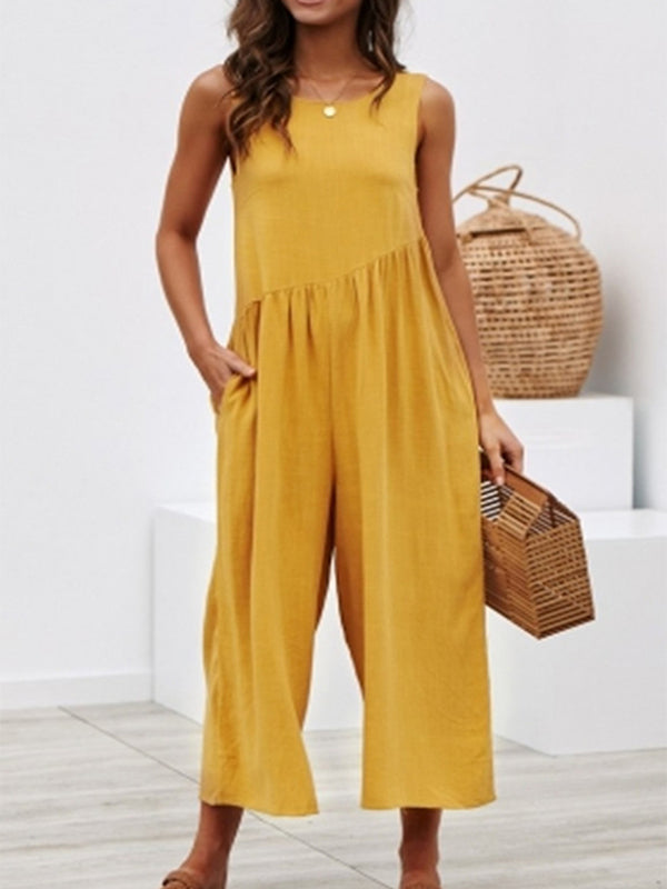 Round Neck Casual Sleeveless Jumpsuits