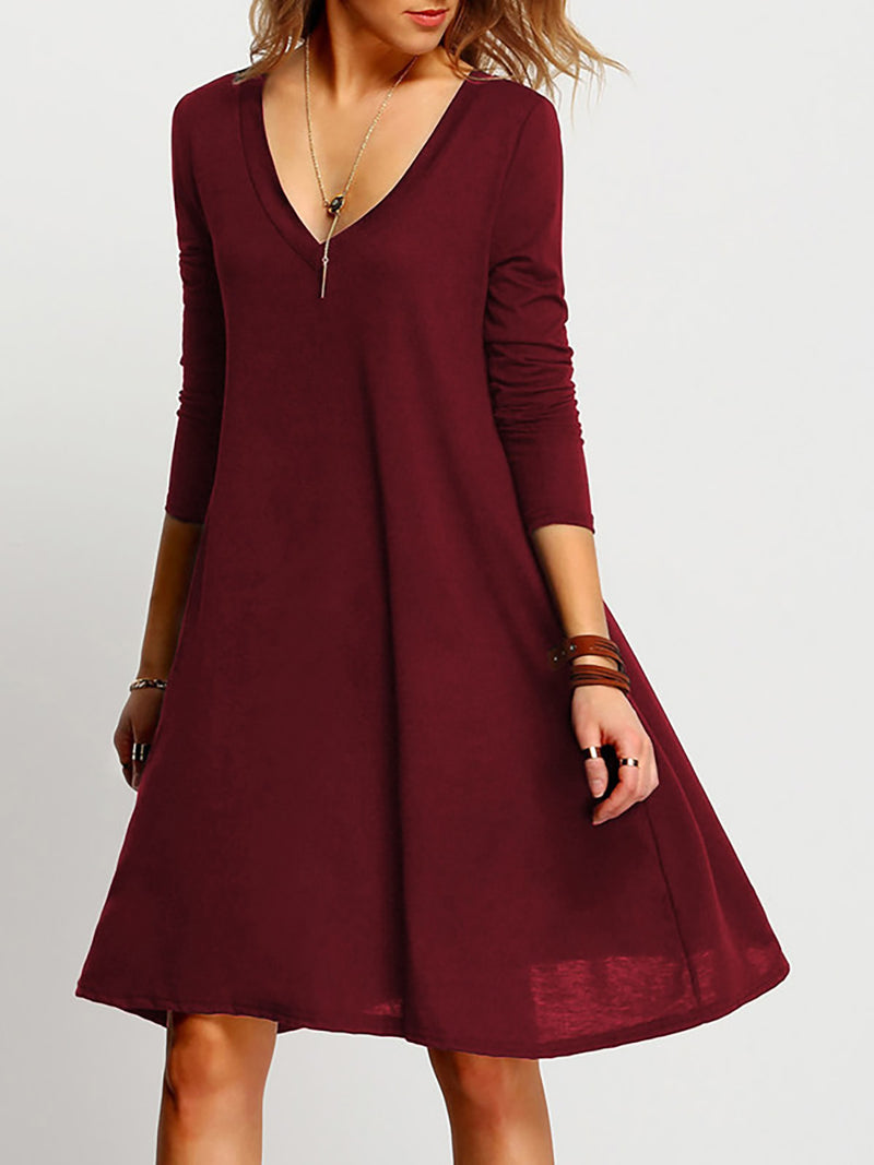 Solid A-Line Casual Long Sleeve Dresses