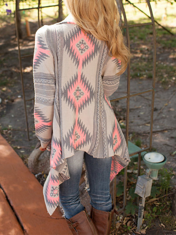 Jacquard Long Sleeve Cardigan