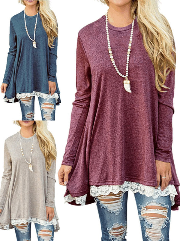 Crew Neck Long Sleeve Solid Blouses&shirts