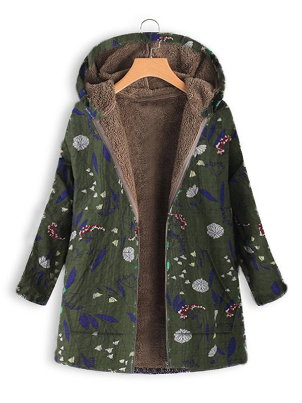 Long Sleeve Casual Shift Printed Coat